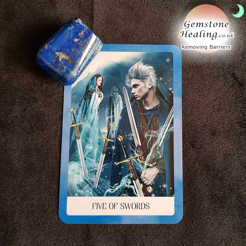 The five of swords represents time to remove our personal barriers and move forward